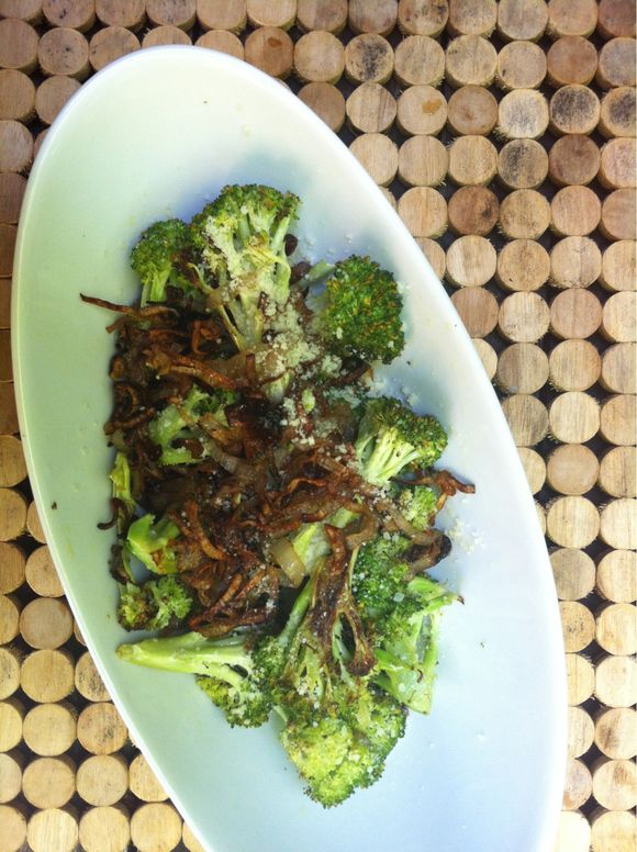 Roasted Broccoli with Parmesan and Crispy Shallots